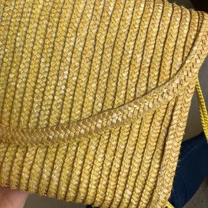 Bags - Bright Yellow Woven Crossbody Bag